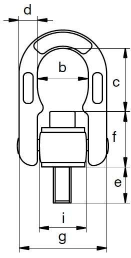 Anneau de levage deux articulations HR EXCEL CMU à 90° de 2.5T à 4T Lg T.filetée 112mm Face