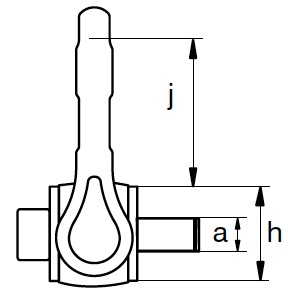 Anneau de levage deux articulations HR EXCEL CMU à 90° de 2.5T à 4T Lg T.filetée 112mm Profil