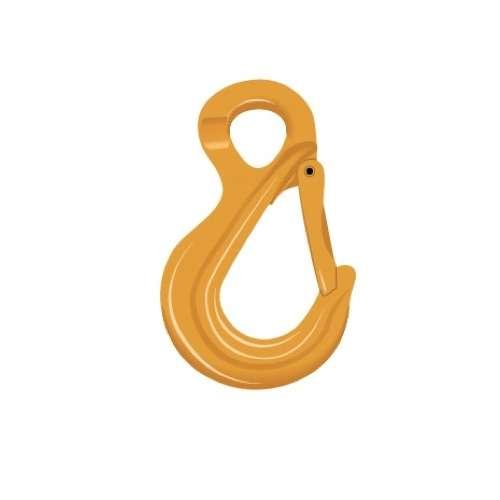 Crochet Simple à Oeil G80 EXCEL Coul. Jaune Pour Chaîne Ø16mm CMU 8.2T