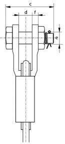 Boite à coin galva Green Pin G-6423 à axe boulonné goupillé pour câble Ø 34-36mm Face