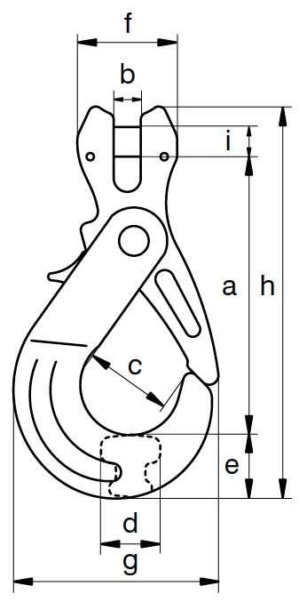 Crochet à verrouillage automatique à chape Compact GKC Cotes
