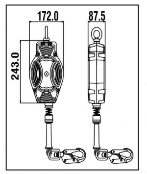 Stop chute - Antichute automatique vertical à câble 10m Dimensions