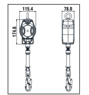 Stop chute - Antichute automatique vertical à câble 3,5m Dimensions