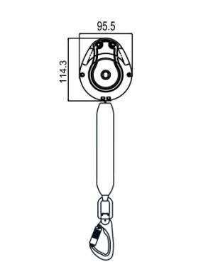 Stop chute - Antichute automatique vertical à sangle 1,75m Spécial Nacelle Dimensions