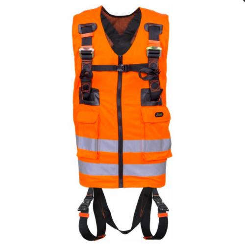 Harnais De Sécurité Antichute 2 Points D'accrochage Avec Gilet Haute Visibilité Orange