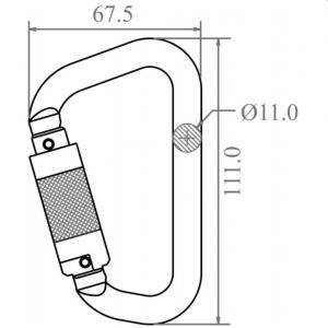 Mousqueton aluminium 1/4 de tour Keylock ouverture 20mm Dimensions