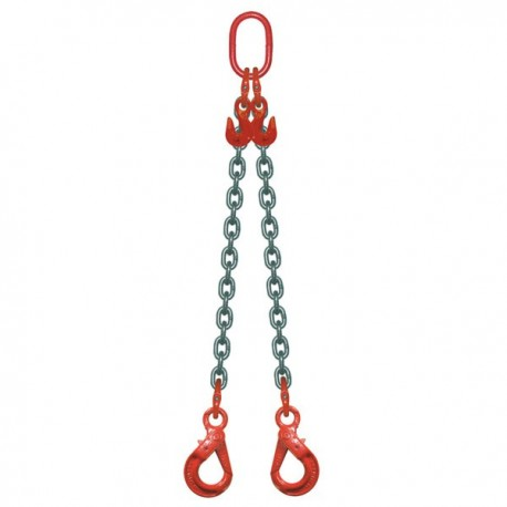Elingue Chaine 2 Brins Avec Crochets à Verrouillage Automatique + Raccourcisseurs