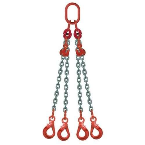 Elingue Chaine 4 Brins Avec Crochets à Verrouillage Automatique + Raccourcisseurs
